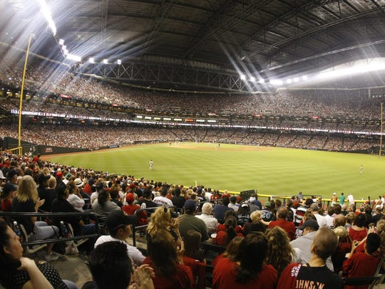 The view from center field bleachers at Chase Field.