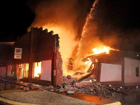 Fire destroyed the Elliott's Auto building in Burkburnett