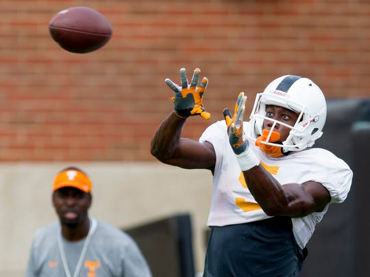 Tennessee's wide receiver Josh Palmer (5) lines up a catch during Tennessee fall football practice at Anderson Training Facility in Knoxville, Tennessee on Friday, August 11, 2017.
