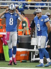 Detroit Lions quarterback Matthew Stafford (No. 9) was replaced by Dan Orlovsky during third quarter action against the Arizona Cardinals on Sunday, October 11, 2015 at Ford Field in Detroit, Michigan.