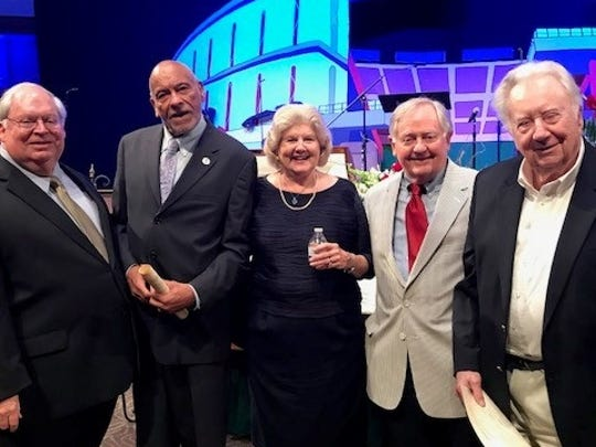 Four Knox lawmakers who served with the late State Rep. Tom Jensen 50 years ago in 1968 attended services Sunday for Jensen. With Carolyn Jensen are (from left) Dick Krieg, Bob Booker, Victor Ashe and Brown Ayres. The service was at Wallace Memorial Baptist Church.