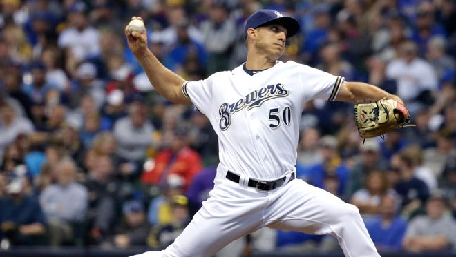 Brewers reliever Jacob Barnes pitches earlier this month against the Colorado Rockies at Miller Park.