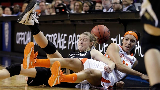 Colorado's Lexy Kresl, left, and Oregon State's Gabriella Hanson become entangled after both dove for a loose ball during the first half of an NCAA college basketball game in the quarterfinals of the Pac-12 Conference tournament Friday, March 6, 2015, in Seattle.