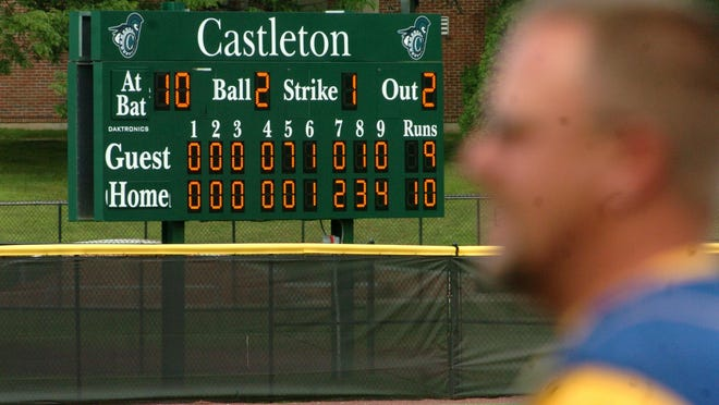 The scoreboard at the baseball field at Castleton State College.