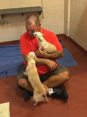 St. Thomas man Mathew Kerr traveled to Florida to rescue animals following Hurricane Irma. Kerr is shown with pictures of dogs he helped to rescue in Naples, Florida.