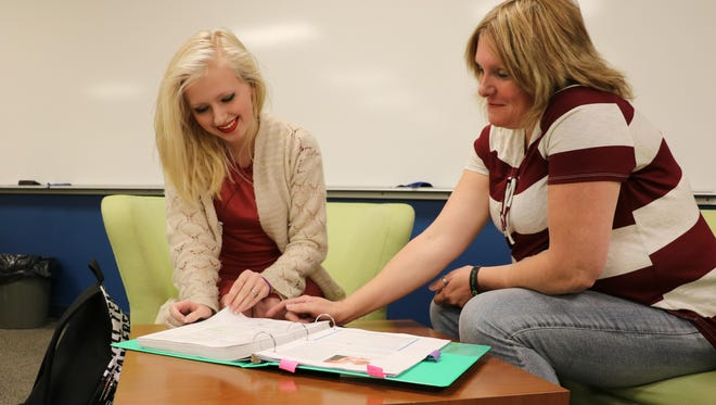 Brianna Archuleta and her mom Stacy Archuleta study together at Great Falls College MSU. The mother and daughter both started college at GFC MSU together this fall.