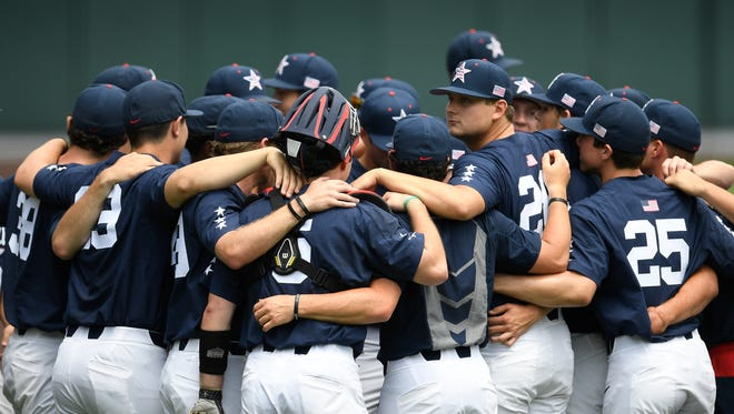 Vanderbilt baseball players huddle before their game against Alabama at Hawkins Field Saturday, May 20, 2017 in Nashville, Tenn.