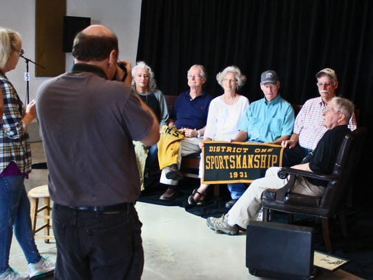 Charlie Todd's video and photo team from Nashville get ready for the taped interview with the children of the Purdy High School championship team players. On the set are, from far right to left, Charlie Todd, Danny Bias, Bobby Bias, Gaylin Bias Robinson, Danny Bias and Debbie Coffman.