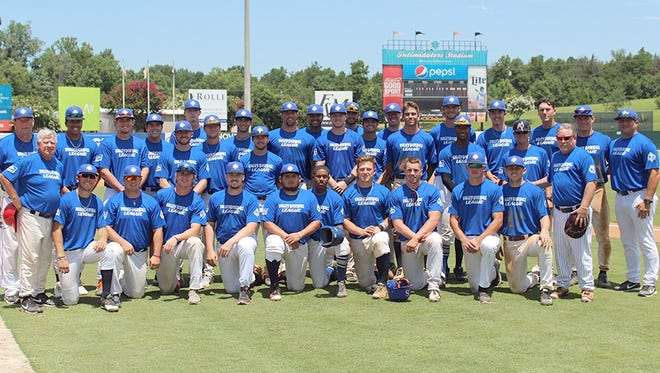 Valley Baseball League players pose for a team photo before the Southern Collegiate Classic, held in Kannapolis, N.C., on July 15 and 16.