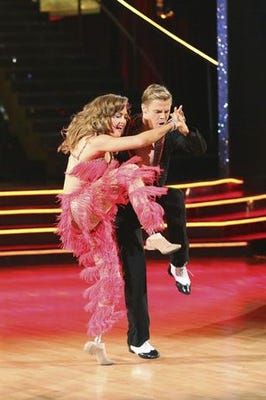 Derek and Amy on night one of the DWTS finals. (Photo: Adam Taylor, ABC)