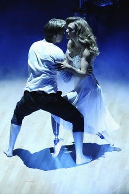Derek and Amy during night one of the DWTS finals. (Photo: Adam Taylor, ABC)