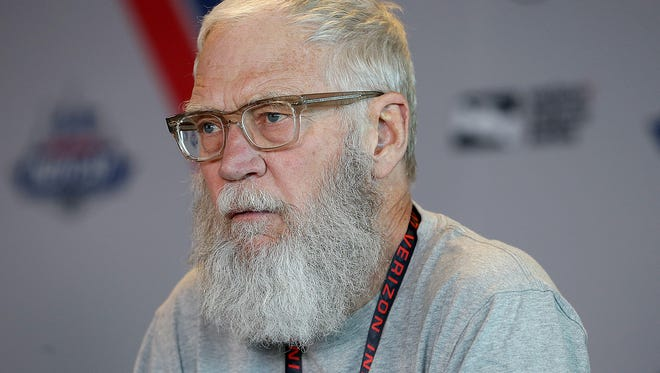 IndyCar team co-owner David Letterman at a press conference to talk about Soldiers Strong and Turns for Troops  Friday, May 12, 2017, at the Indianapolis Motor Speedway.