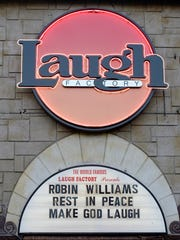 The marquee of the Laugh Factory in memory of actor/comedian Robin Williams in Los Angeles. It went up the night of Aug. 11, after Williams' sudden death.