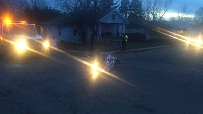 The driver and passenger of this motorcycle were taken to hospital after sustaining injuries in a crash at Central and South 22nd Streets.