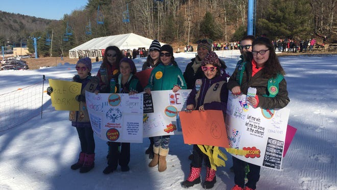 Girl Scouts from Dutchess County stand ready to cheer on athletes at Holiday Mountain in Sullivan County for the 2016 Special Olympics New York Games.