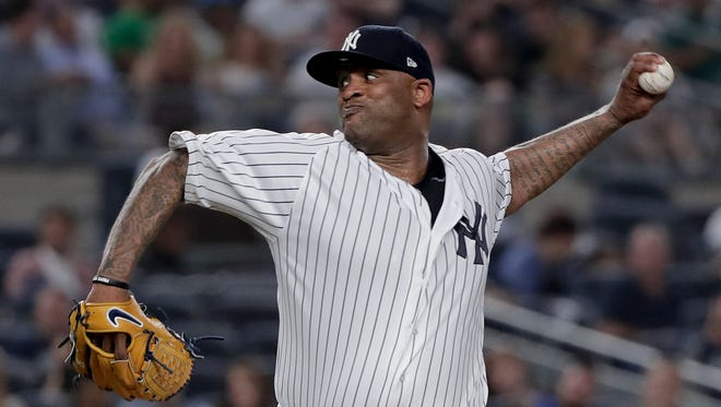 New York Yankees pitcher CC Sabathia delivers against the Cleveland Indians during the fourth inning of a baseball game Friday, May 4, 2018, in New York.