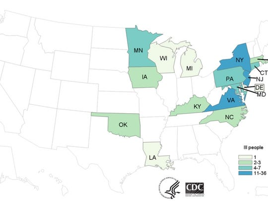 Over a dozen states were affected by salmonella outbreaks with 26 cases in New Jersey.