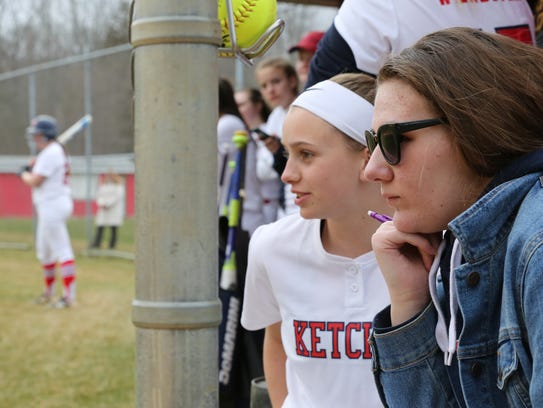Helena Van BenSchoten, right, watches her team Ketcham