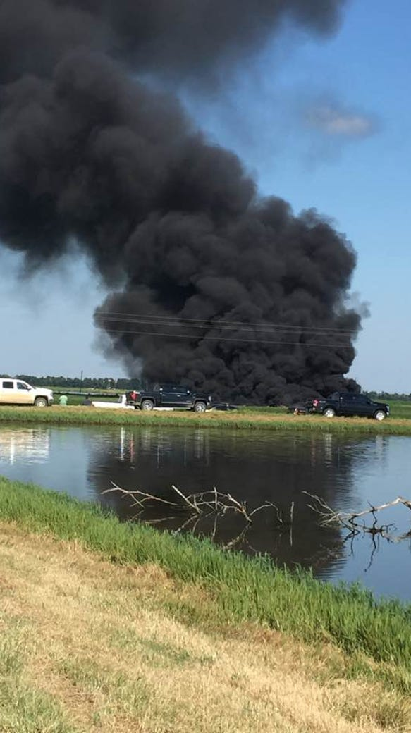 The site of a fatal military plane crash in the Mississippi