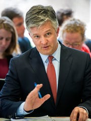 Brady Toensing testifies before the Senate Government Operations Committee at the Statehouse in Montpelier on April 28, 2015.