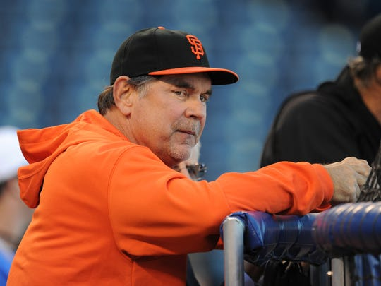 Oct 20, 2014; Kansas City, MO, USA; San Francisco Giants manager Bruce Bochy (15) during practice the day before the start of the 2014 World Series at Kauffman Stadium. Mandatory Credit: Christopher Hanewinckel-USA TODAY Sports