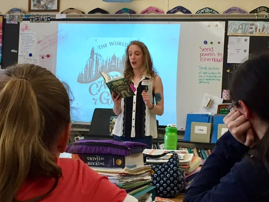 Sarah Jean Horwitz, a Class of 2009 alum, discusses her first novel at Jefferson Township Middle School.