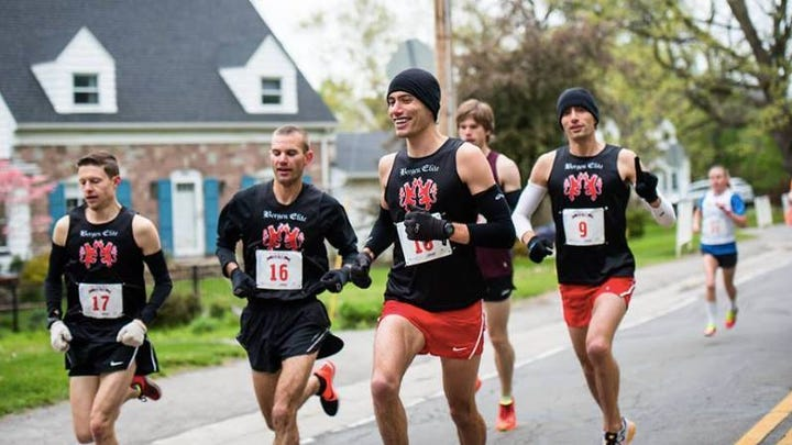Bergen elite runners at the 2016 Lilac 10K, from left, Greg Selke, Dave Rappleyea, Josh Guarino and Nick Guarino.