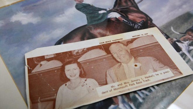 Family memorabilia belonging to Hope Haskell Jones is displayed at her home in Little Silver. She is the daughter of Amory L. Haskell, one of Monmouth Park's founders, with the 50th Haskell Invitational to be run on Sunday.
