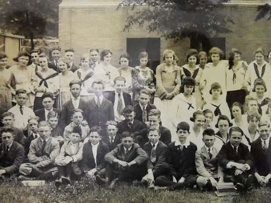 An old photo of high school students in the school that  later became Byrd High School at LSUS archives.