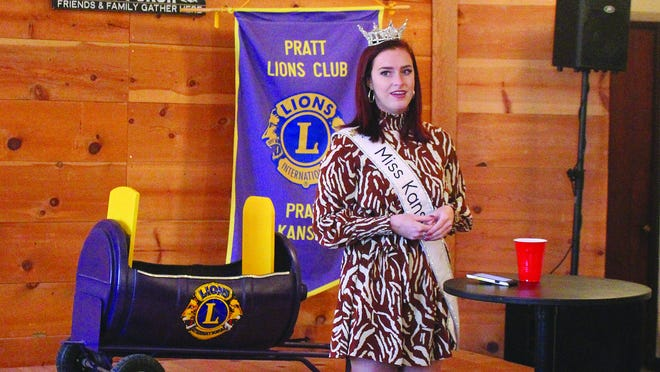 Annika Wooton, the reigning Miss Kansas, spoke to Pratt Lions Club members last Tuesday in Pratt.