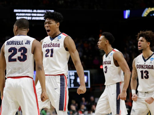 Gonzaga's Zach Norvell Jr. (23) , Rui Hachimura (21), Johnathan Williams (3) and Josh Perkins (13) celebrate after Norvell Jr. made a three-point shot in the final minute of the second half of an NCAA college basketball tournament first-round game against UNC-Greensboro, Thursday, March 15, 2018, in Boise, Idaho. Gonzaga won 68-64. (AP Photo/Ted S. Warren)