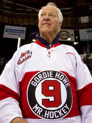 In this Feb. 2, 2013, file photo, hockey great Gordie Howe, part owner of the Western Hockey League's Vancouver Giants, looks on during a team news conference in Vancouver, British Columbia.
