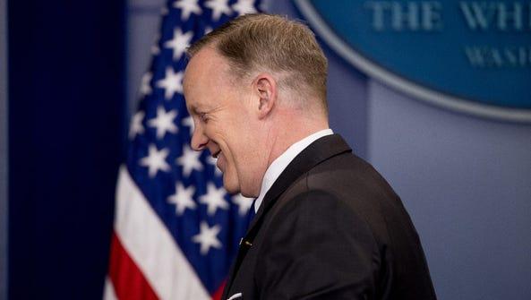 White House press secretary Sean Spicer departs following