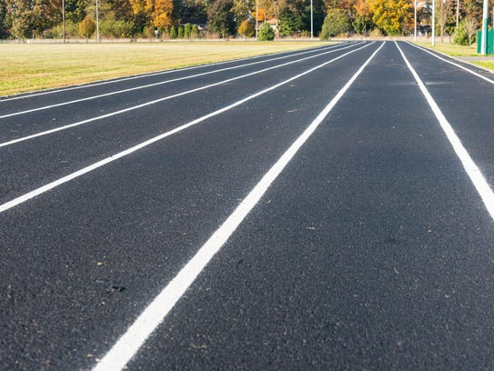 The newly paved and painted walking track located at