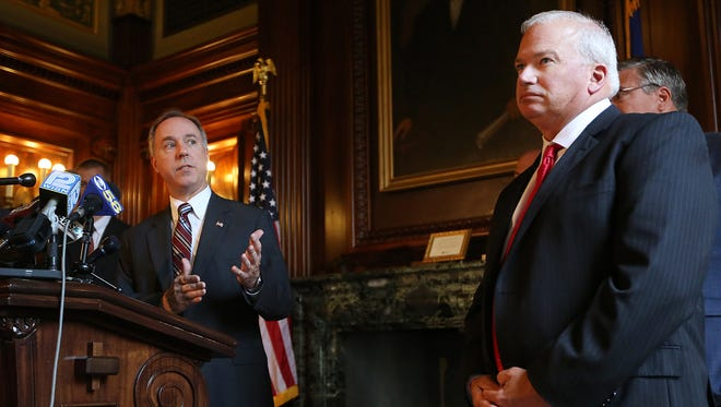File photo: Wisconsin Assembly Speaker Robin Vos, R-Rochester, left, speaks about the ongoing state budget deliberations during a press conference held by the Republican legislative leaders as Senate Majority Leader Scott Fitzgerald, R-Juneau, looks on in the Senate Parlor of the Wisconsin State Capitol in Madison, Wis., on Wednesday, July 1, 2015.