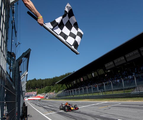 FILE - In this Sunday, June 30, 2019 file photo, a view of the Red Bull Ring racetrack in Spielberg, southern Austria.  Formula One hopes to finally start the season with a double-header in the naturally isolated environment around the venue for the Austrian Grand Prix. The first 10 F1 races have been canceled or postponed because of the coronavirus pandemic and the targeted start date is July 5 in Austria. (Christian Bruna, Pool via AP, File)