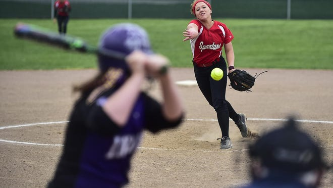 Pleasant's Georgie Stacy launches a pitch during a game against Mount Gilead this season. Stacy was sharp in tossing a four-hitter.