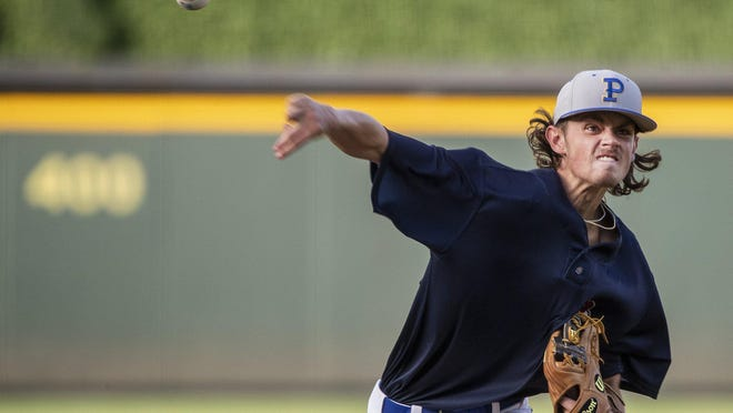 "Pflugerville pitcher Triston Witt pitches against Hendrickson's DJ Mays. Dell Diamond in Round Rock hosted a total of 35 graduated 2020 seniors from the four high schools in Pflugerville on Tuesday in a contest dubbed ""The Pfinal Game."""