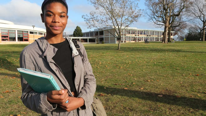 White Plains High School Senior Samantha Standard, 17, stands outside her school Monday. She is using social media to help narrow her college application choices.