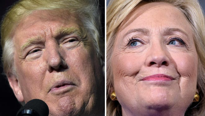 This combination of images shows Republican presidential nominee Donald Trump in Roanoke, Va. on Sept. 24, 2016 and Democratic presidential nominee Hillary Clinton Sept. 21, 2016 in Orlando, Fla.