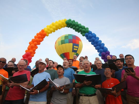 The Gay Men's Chorus performing in Cathedral City.