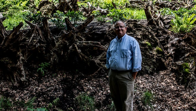 Luke Messinger, the executive director of Dawes Arboretum, stands in the newly created stump garden. The park, which offers a wide range of plant life and walking trails, located on Jacksontown road is open daily to the public.