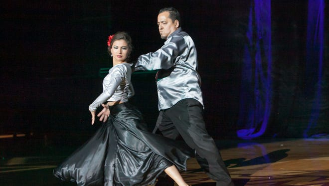 Contestant Steve Chavira leads DanceSport dancer Jade Augustain in Look Who's Dancing season 8 on Nov. 8, 2015 at the Pan American Center.