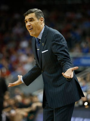 Villanova coach Jay Wright reacts to a player error in the second half against Miami. March 24, 2016