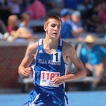 Villa Madonna junior Eric Baugh runs to a state title in the 1,600 in 2014. He is an athlete to watch in 2015.   The KHSAA state track and field meets took place May 23-24 at the University of Kentucky.