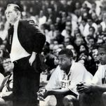 Texas-El Paso coach Don Haskins shouts to his team Saturday, Jan. 3, 1998, in El Paso, Texas. Haskins coached his 700th college victory Saturday night in a 66-64 victory over Southern Methodist.