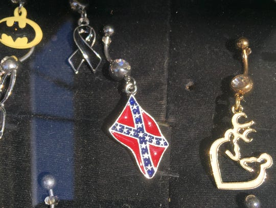 A Confederate Flag belly button ring sold by a vendor