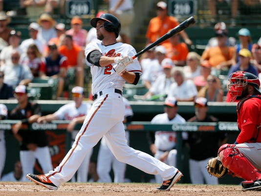 Baltimore Orioles' J.J. Hardy follows through on a two-run home run swing off a pitch from Boston Red Sox starter Justin Haley as catcher Sandy Leon watches in the third inning of a spring training baseball game, Saturday, March 26, 2016, in Sarasota, Fla. The shot scored Pedro Alvarez. (AP Photo/Tony Gutierrez)