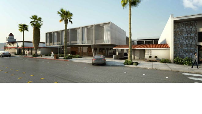 An architect's sketch of the Palm Canyon Drive view of the redesign for the 750 Lofts hotel project planned for the Uptown Design District in Palm Springs.