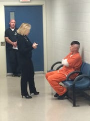 """Knox County District Attorney General Charme Allen speaks with Greg Fox, Knox County's first inmate chosen for the new """"Shot At Life"""" pilot program, which provides low-level drug offenders with the Vivitrol anti-opioid drug."""